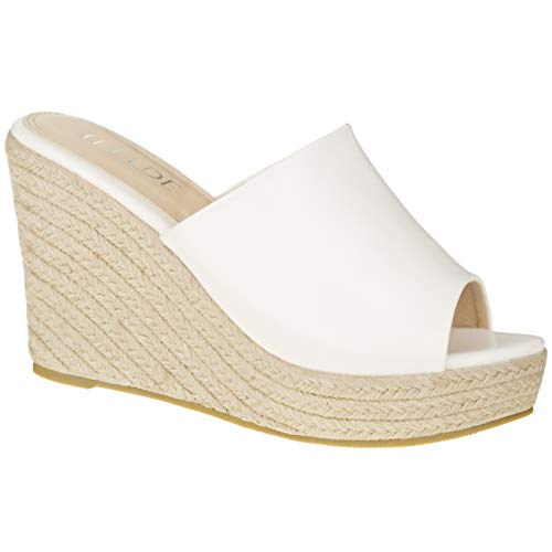ILLUDE Women's Wedge Sandals Platform Heel Espadrille Sandal - Straw Platform Open Toe Sandals (8.5 M US, White)