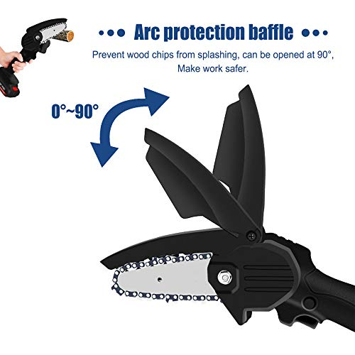 Mini Chainsaw Cordless Handheld 4-Inch Electric Portable Chain Saw with Battery 4 Chain and Splash Board 0.7kg Lightweight Pruning Shears Chainsaw for Tree Branch Wood Cutting,Mini Chainsaw black