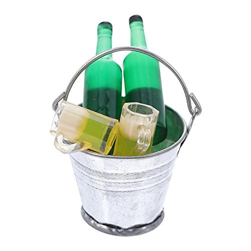 BESPORTBLE Cubo de Hielo Miniatura Casa de Muñecas Botella de Cerveza Taza de Cerveza Y Cubo de Hielo Falso 1 12 Escala Mini Cubo de Hielo Congelado Micro Bar Bar Decoraciones de Escena