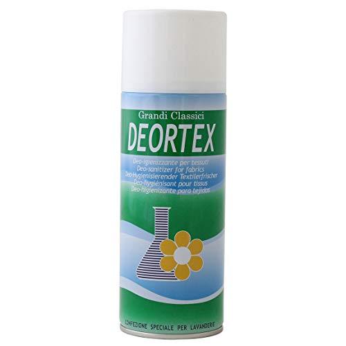 Rampi Deortex - Deodorante Spray Igiensoft Igienizzante Professionale Tessuti Ambiente Auto Cassetti Scarpe Casco Armadio Profumo Hotel Palestra Talco Accessori Lavanderia - 400 ml - MADE IN ITALY