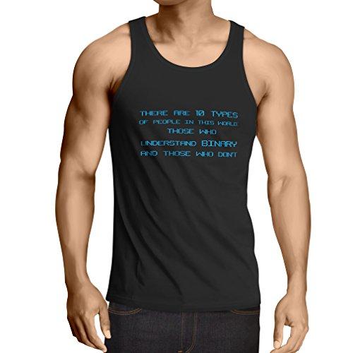 lepni.me Camisetas de Tirantes para Hombre Tipos de Personas Que Entienden el código Binario, Chistes de programadores (S Negro Azul)