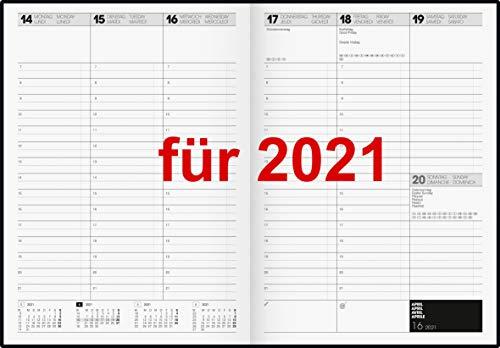Brunnen Buchkalender 2021 A4 1Wo=2Sei Hardcover schwarz 10-78160 Kalender 2021