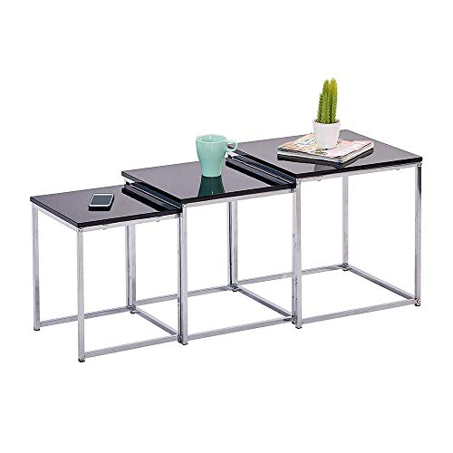 High Gloss Nest of 3 Tables for Living Room, Space Saving Set of 3 Nesting Tables, Sofa Side Table Coffee Table End Tables, Stylish Black Wood Home Furniture
