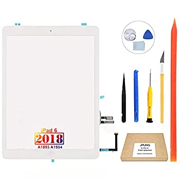 JPUNG Screen Replacement for iPad 6 6th Gen Digitizer 2018 9.7  Only for iPad 6th Generation A1893 A1954 Touchscreen Home Button No TouchID  Full Repair Kit+ Video Tips