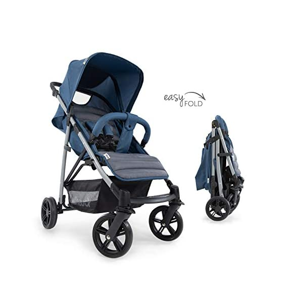 Hauck Rapid 4, 0 Months to 22 kg, Foldable, Compact, with one Hand, with Sleep Position, Height Adjustable Handle, Large Basket - denim/grey, Rapid 4, Up to 25 Kg Hauck Easy folding this pushchair is as easy to fold away as possible - the comfort stroller can be folded with one hand only within seconds, leaving one hand always free for your little ray of sunshine Long use this buggy can be used for a very long time. it is suitable from birth (also compatible with 2in1 carrycot or comfort fix infant car seat) up to a maximum of 22kg Comfortable back friendly push handle adjustable in height, the hood extendable; suspension, swivelling front wheels, soft padding, and large shopping basket 4
