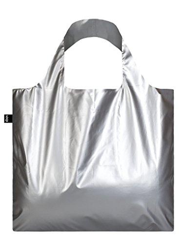 METALLIC, Matt Silver. Bag: LOQI BAG: Ich wiege 55 g. Ich kann 20 kg tragen. Ich bin wasserabweisend. Ich bin aus Polyester