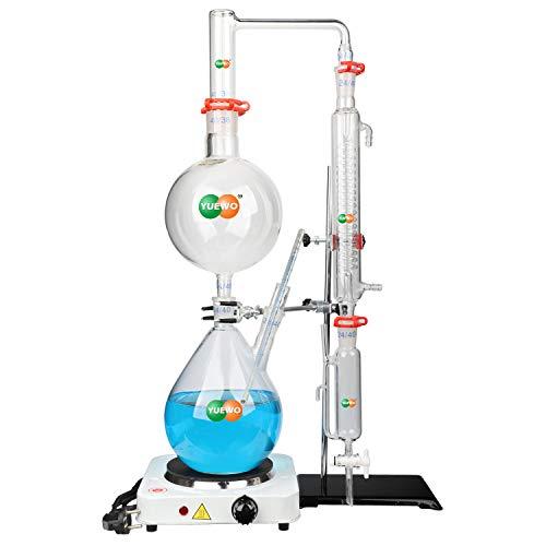 hzexun Kit De Destilación De Aceite Esencial De Laboratorio Purificador De Destilador De Agua DIY Conjunto De Productos Químicos Esenciales para El Hogar con Estufa Caliente