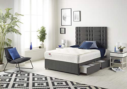 Bed Centre Grey Linen Bliss Divan Bed with Sprung Memory Foam Mattress - Optional Drawers and Headboard Available (4FT6 Double, 4 Drawers NO Headboard)