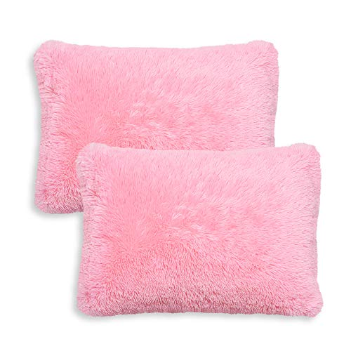 KB & Me Boho Pink Fuzzy Faux Fur Plush Pillow Cases Standard Queen Pillowcase Sham Cover Set for Bed Soft Shaggy Fluffy Decorative Accent College Dorm Teen Home Room Decor Set of 2