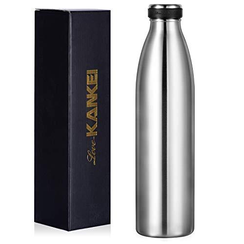 Love-KANKEI 水筒 マグボトル ステンレスボトル 真空断熱 保熱保冷 牛乳瓶 直飲み 1000ML シルバー