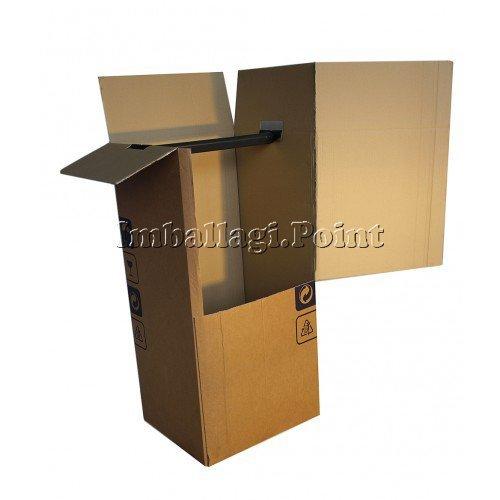 1 unidad - Cajas armario para mudanza, para transportar la ropa, de doble onda de 50 x 50 x 120 cm