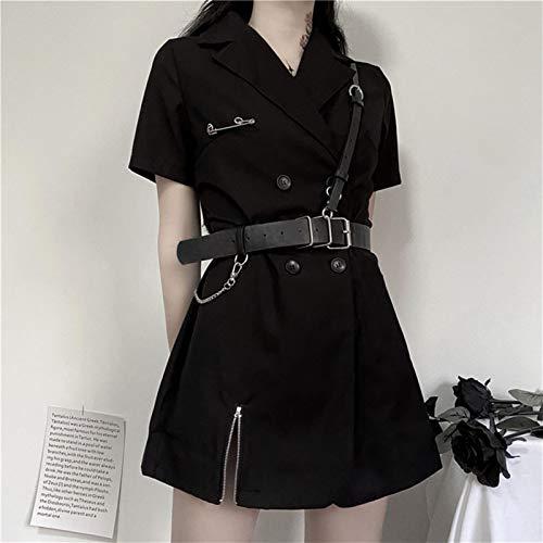 KTZAJO Lo último Rosetic Gothic Blazer Vestido Mujeres Negro Sexy Mini Vestidos 2020 Cintura Alta Harajuku Goth Girl Cremallera Punk con PU Cinturón de Cuero