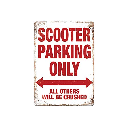 Metal Wall Sign - Scooter Parking Only,Vintage Aluminum Metal Signs Tin Plaque Wall Art Poster for Garage Man Cave Beer Cafe Bar Pub Club Patio Home Decor 12