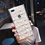 Square Case Compatible iPhone 7 Plus iPhone 8 Plus Case 3D Diamond Pattern Cute Candy Color Shockproof Protective Slim-fit Solid Color Flexible Soft TPU Case Cover for iPhone 7 Plus/8 Plus (Clear)