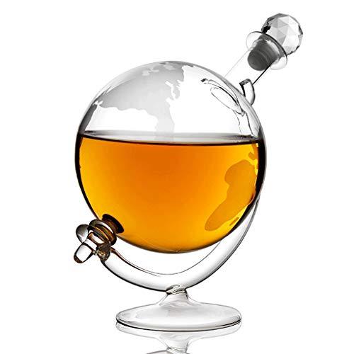 BYZHP Decantador de Vino Licorera 1000ml Vidrio Whisky Decanter Mapa Mundo Globo...