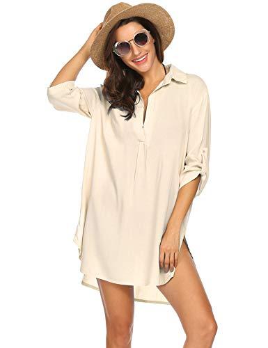 UNibelle Vestido de Playa Mujer, Blusa Tipo túnica para Cubrir, Vestido Largo de Playa, Camisa para Mujer, Poncho de Playa, Verano sin Mangas