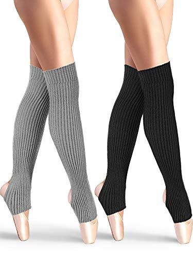 2 Pairs Stirrup Leg Warmers Straight over the Knee Socks 21.65 Inch for Women (Black, Gray)