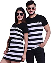 COUPLESTUFF.IN Striped T-Shirt Dress Combo for Couple Black,Red,Blue & Navy Blue Color l Striped T-Shirt Dress Combo for M...