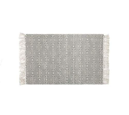 U'Artlines Teppiche aus Baumwolle mit Quasten Bedruckter, Handgewebter, Waschbarer Teppich Matteneingang für Schlafzimmer, Küche und Waschküche Grau