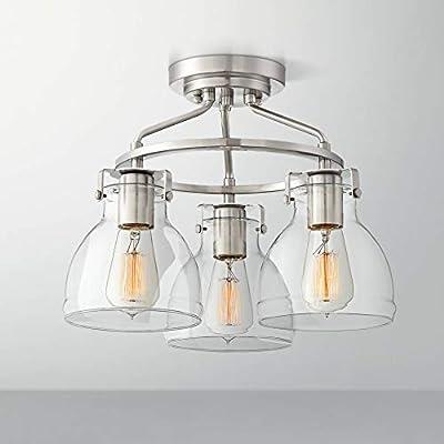 "Bellis Industrial Ceiling Light Semi Flush Mount Fixture Brushed Nickel 14 1/2"" Wide 3-Light Curving Clear Glass for Bedroom Kitchen Living Room Hallway Bathroom - Possini Euro Design"