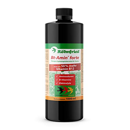 Röhnfried – Bt-Amin Forte 1000 ml | Aminosäuren, Elektrolyte und B-Vitamine (hochdosiert) für Brieftauben & Rassetauben