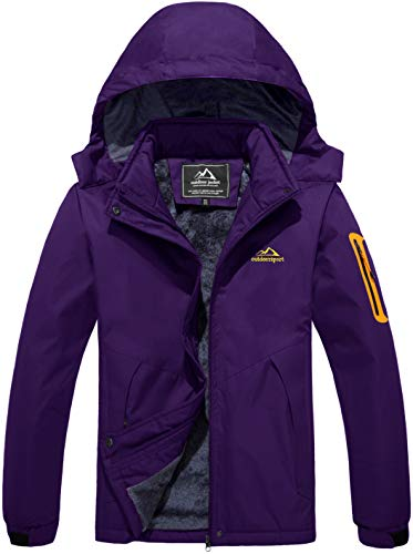 MAGCOMSEN Ladies Warm Waterproof Jacket with Hood Hill Walking Jacket Womens Breathable Raincoat Jackets Thick Fleece Winter Clothes for Women Outdoor Running Fishing Costs for Ladies Hoody Purple