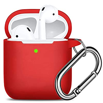 Oielai for Airpod Case, [Front LED Visible ] Waterproof Protective Cover Cute Silicone Cases Skin with Keychain Compatible with Apple Airpods 2 & 1, Red by Oielai