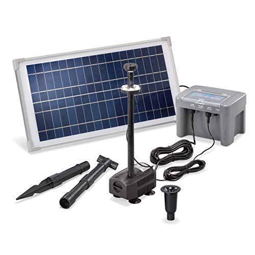 Solar Teichpumpe Professional mit 12V/7Ah Akkuspeicher und LED Beleuchtung - 15 Watt Solarmodul - 500 l/h Förderleistung - 1,1 m Förderhöhe - Springbrunnen Gartenteich Pumpe esotec 101924