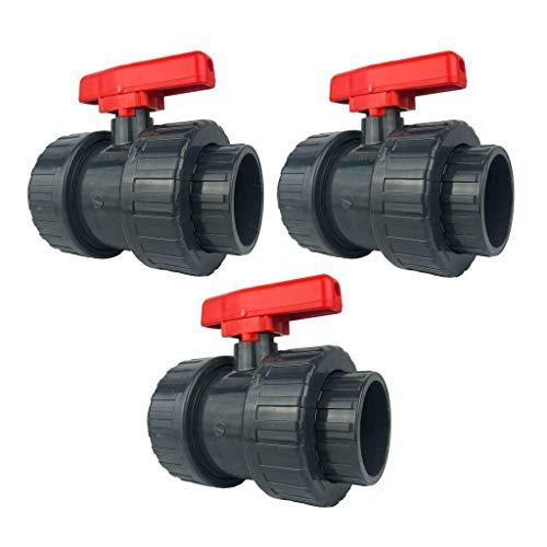 well2wellness® PVC-Kugelhahn mit 2-Wege Klebeanschluss 50mm - roter Griff - 3 Stück (2000061)