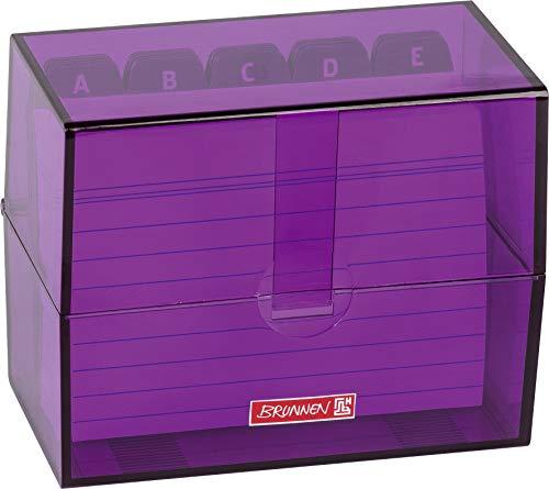 Brunnen 102057060 Karteikasten, 12 x 9.5 x 6.5 cm (für A7 Karteikarten), Polystyrol, Purple, Colour Code