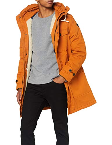 Scotch & Soda Mens Wattierter Bio-Baumwolle Parka, Outdoor Orange 3867, M