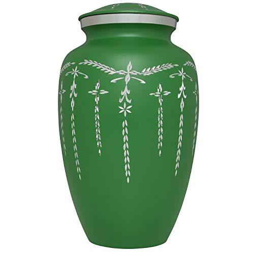 Grüne Einäscherungsurne – bunte Beerdigungsurne in vier Optionen: Pink, Grün, Violett oder Grau – Große Urne für menschliche Asche – Erwachsenengröße – Aluminium