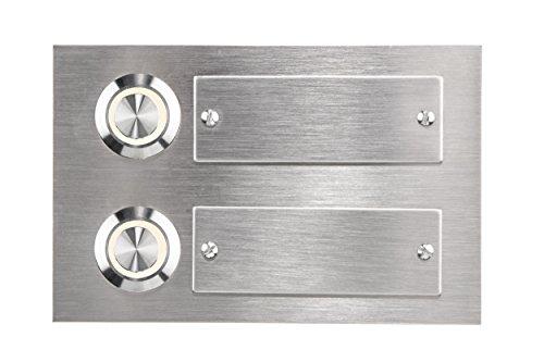 HUBER LED Klingeltaster 12726, 2-fach unterputz, rechteckig, Edelstahl, LED Lichtfarbe warm weiß