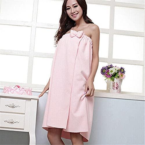 IAMZHL Cómodo y Absorbente Tubo de Microfibra para Mujer, Vestido de baño con Lazo Superior, Ducha, Sauna, SPA, Bata para el Cuerpo, Toalla, Envoltura 140x75cm-Pink-One Size
