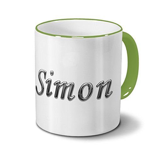 Tasse mit Namen Simon - Motiv Chrom-Schriftzug - Namenstasse, Kaffeebecher, Mug, Becher, Kaffeetasse - Farbe Grün