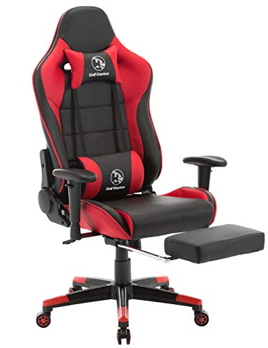 Gaming Chair Ergonomic Computer Game Chair Seat Height Adjustment Recliner Swivel Rocker E-Sports Office Chair with Headrest and Lumbar Pillow (Leather, Red/Black with Footrest) chair footrest gaming