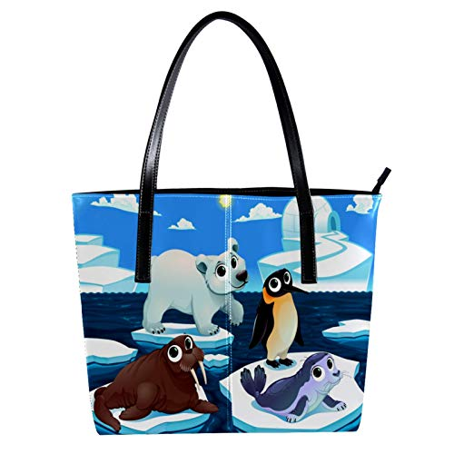 LORVIES Pingüino de foca morse animal polar Bolso bandolera de piel sintética...