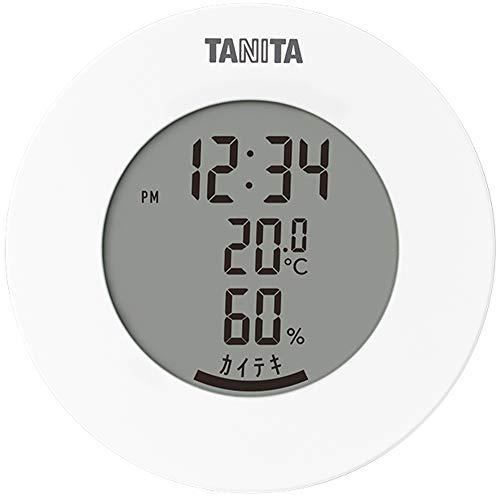 タニタ 温湿度計 温度 湿度 デジタル 時計付き 卓上 マグネット ホワイト TT-585 WH