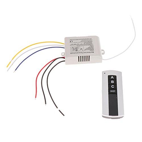 perfk Interruptor de Luz Digital de Encendido/Apagado de 3 Vías + Control Remoto