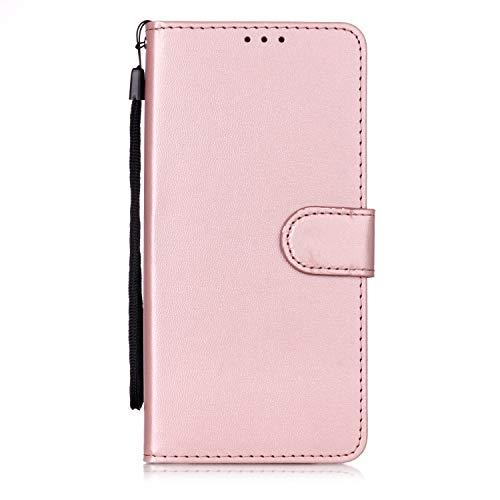 Lomogo OnePlus 7 Pro Hülle Leder, Schutzhülle Brieftasche mit Kartenfach Klappbar Magnetverschluss Stoßfest Kratzfest Handyhülle Case für OnePlus7 Pro - LOYHU250795 Rosa Gold