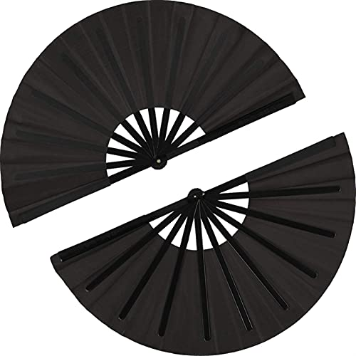 HSLFZD Handgefertigter Fächer 2 stücke Große Faltlüfter Nylon Tuch Handheld Faltlüfter Schwarzer Dekoration Exquisit und praktisch, kann für viele Anlässe DEK (Color : Black)
