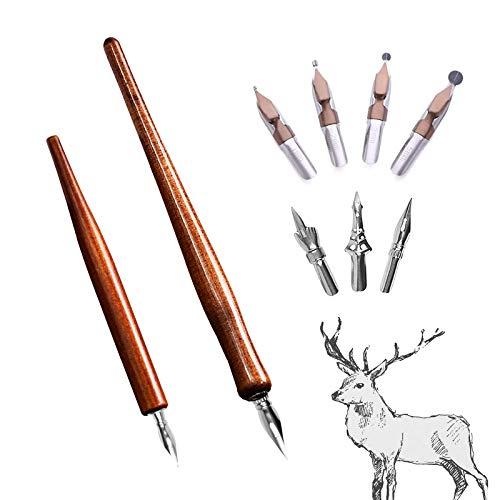 Juego de bolígrafos de caligrafía con 2 portalápices Redwood, 7 plumas para tinta, dibujar, dibujar, manga, animación, caligrafía, letras, bocetos, principiantes, dibujos animados, dibujos animados