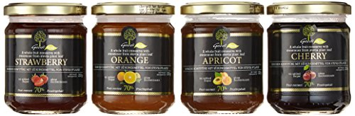 Geodi Fruchtaufstriche mit 70% Fruchtanteil, ohne Zuckerzusatz (60% weniger Zucker als Marmelade) 4 Sorten a 225g: Erdbeer, Aprikose, Kirsch, Orange (4*225g)