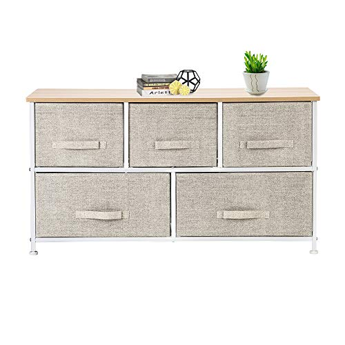 Review Tenozek 2-Tier Wide Closet Dresser, Nursery Dresser Tower with 5 Easy Pull Fabric Drawers and...