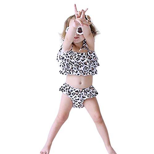 FRAUIT Bikini Leopardato Costumi da Bagno Bambina Due Pezzi Costume per Bambine da Mare Bikini da Nuoto Ragazza