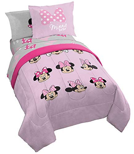 Jay Franco Disney Minnie Mouse Faces 7 Piece Full Bed Set - Includes Comforter & Sheet Set Bedding - Super Soft Fade Resistant Microfiber - (Official Dinsey Product)