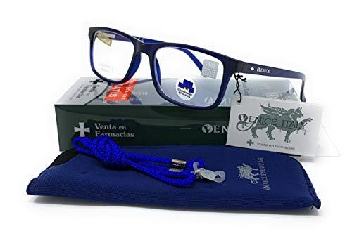 Gafas Ver De Cerca, Lectura Con Filtro Luz Azul, Ordenador Gaming Móvil, Protección Antifatiga - Venice Coti Dioptría (1-1,50-2 - 2,50-3 - 3,50) (Azul, Graduación +3,00)