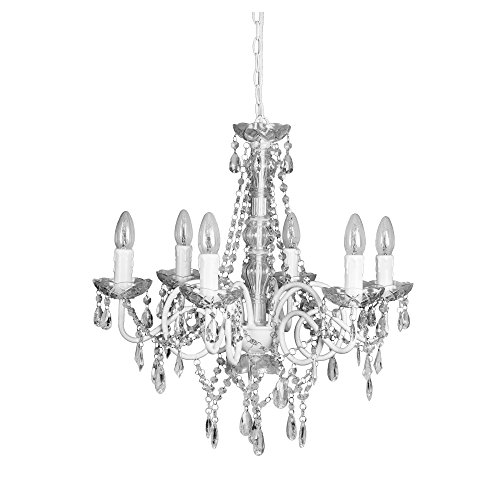 Kronleuchter WHITE CHALET weiss glänzend 6-armig aus Metall mit Kristallen