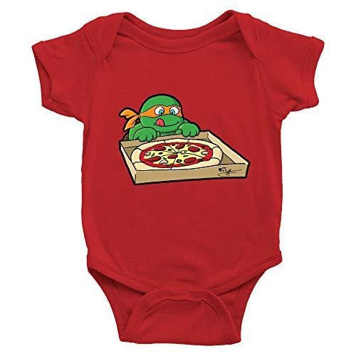 Hungry Ninja - Mono de bebé con diseño de tortugas, Rojo, 0-3 meses