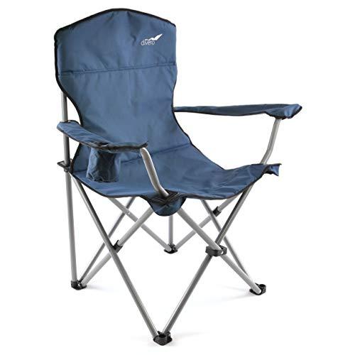 Divero Faltstuhl XL mit Armlehne dunkelblau Getränkehalter extra breit stabil bis 160 kg